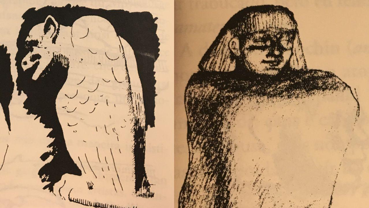 Detalle de dous debuxos do diario de viaxe de Castelao