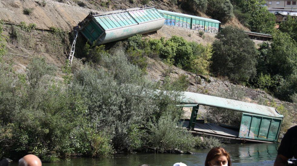 Uno de los vagones acabó en el río Sil