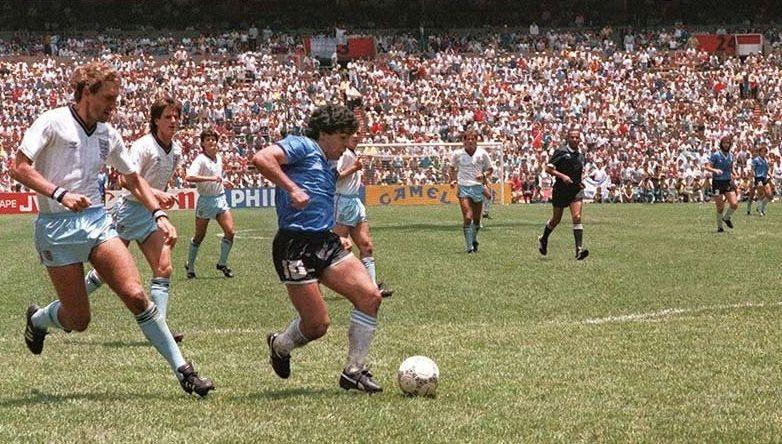 En el partido entre Argentina e Inglaterra de México 1986