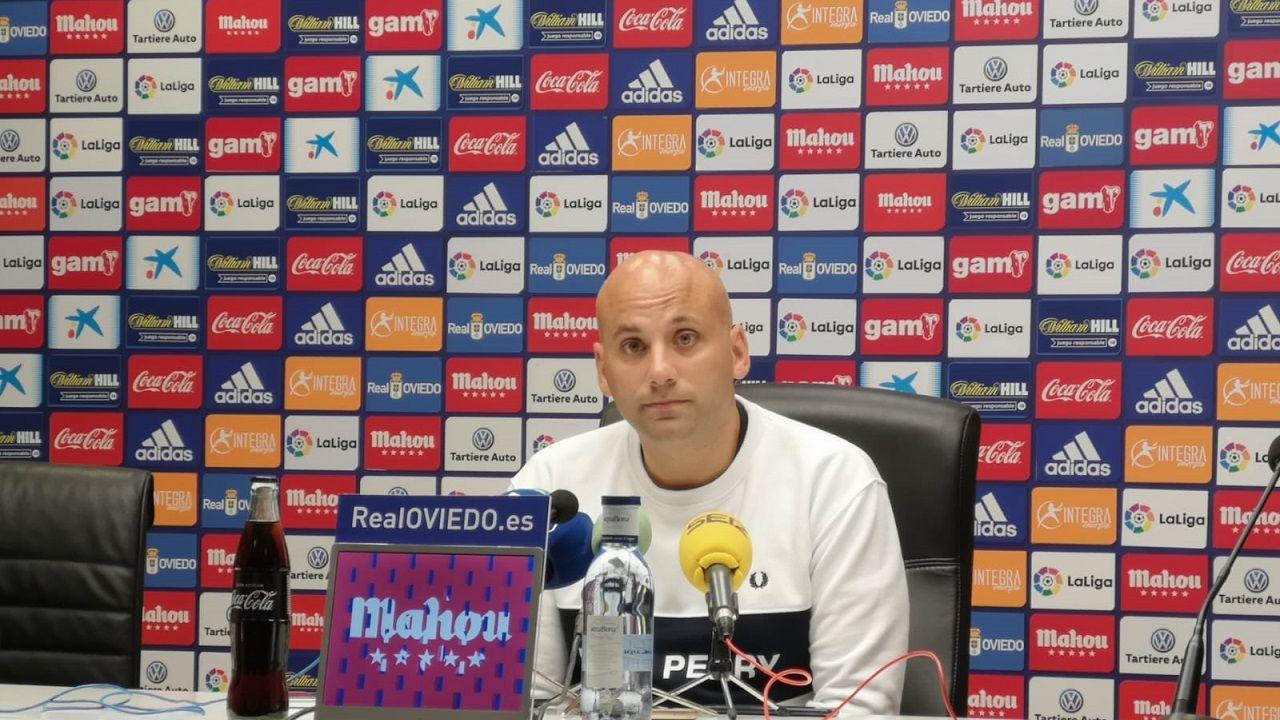 Gol Ortuño Sangalli Edu Cortina Nieto Lolo Real Oviedo Lugo Carlos Tartiere.Javi Rozada en la sala de prensa del Carlos Tartiere