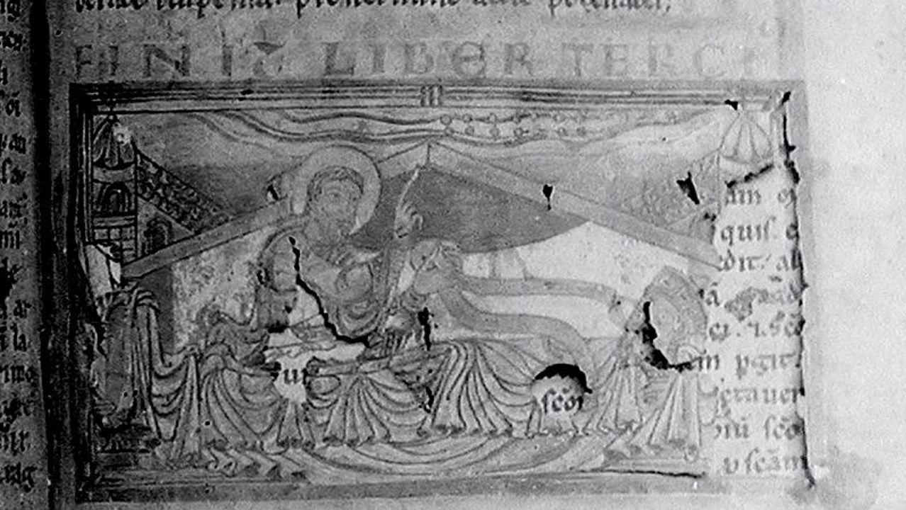 Os Eidos, patrimonio recuperado de Redondela.Detalle de la foto que tomó M. Chicharro en torno a 1909 del Sueño de Carlomagno en el Códice Calixtino