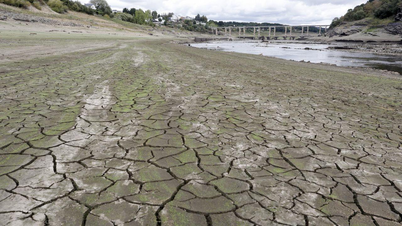 El embalse de Belesar afectado por la sequía en el 2017