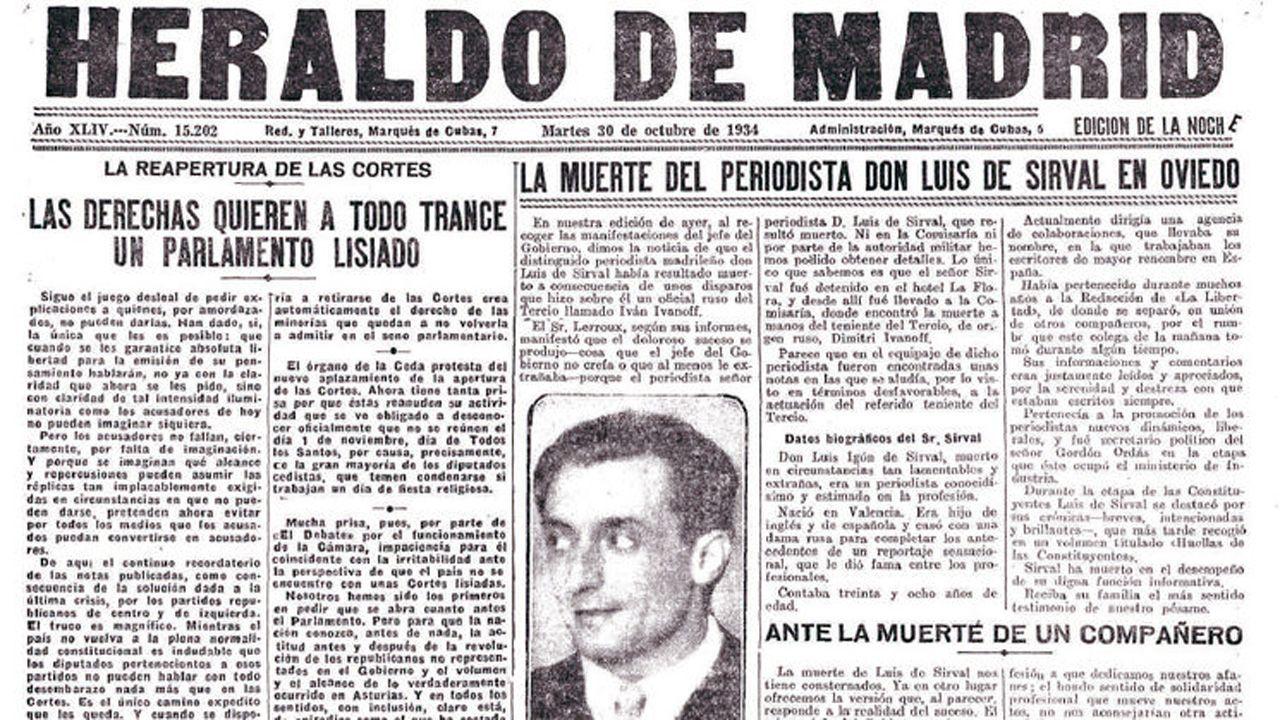 Noticia de la muerte de Luis Higón y Rosell, «Sirval», asesinado en Oviedo el 27 de octubre de 1934 por el legionario Dimitri Ivanov
