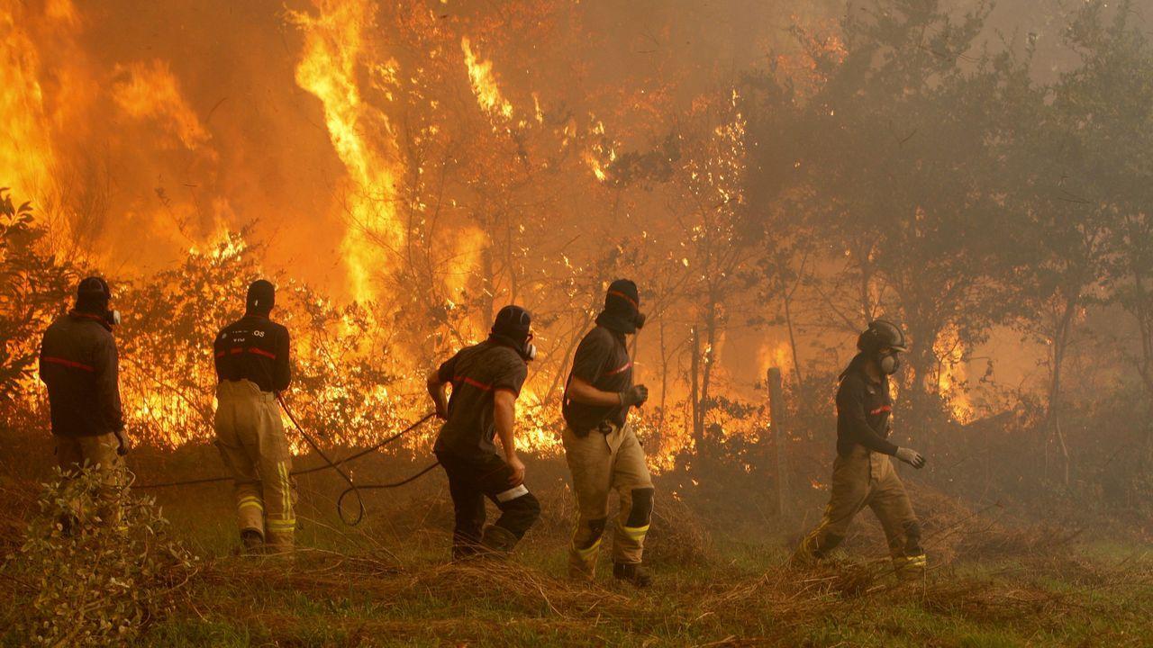 Jornada de vigilia naranja en Vigo.Operarios de los servicios de extinción de incendios trabaja en la zona de Zamanes, Vigo