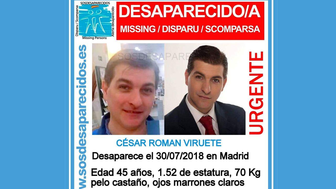 Cartel de SOS Desaparecidos que ofrece los datos de búsqueda de César Román el rey del cachopo