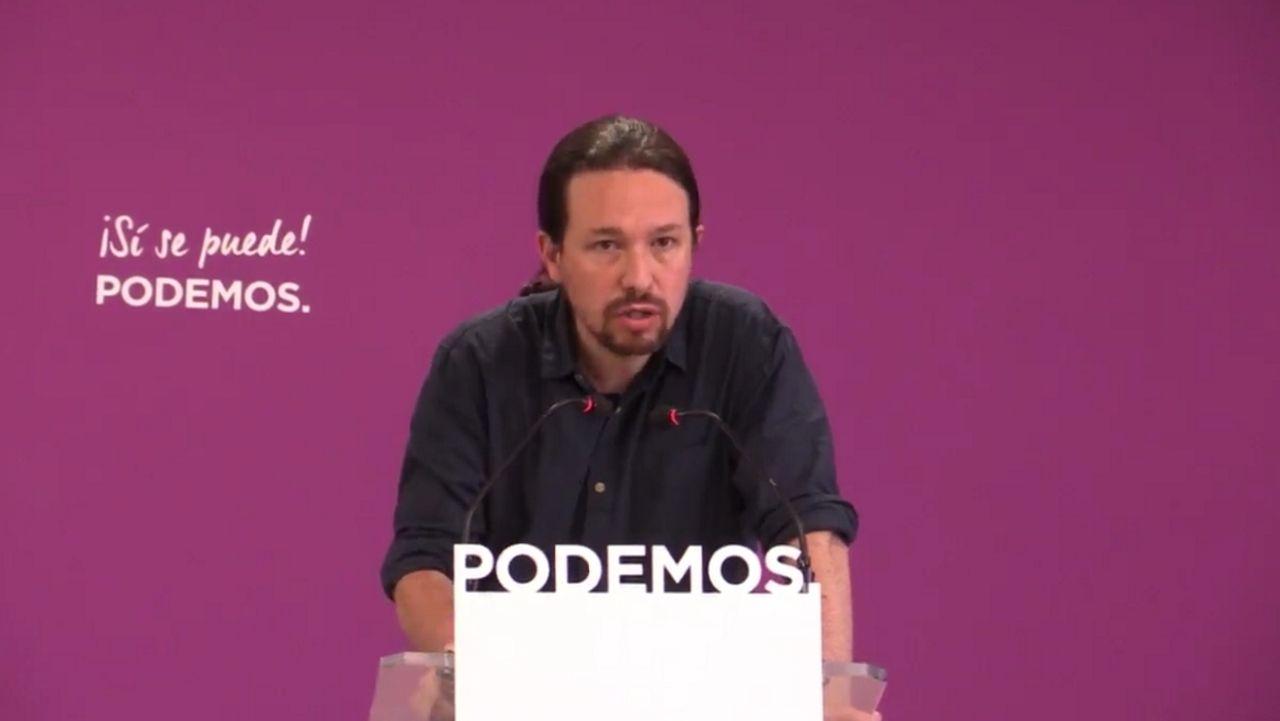 Iglesias reconoce más dificultades para negociar un gobierno de coalición con Sánchez.El lider de Podemos, Pablo Iglesias, en una foto de la moción de censura contra Rajoy