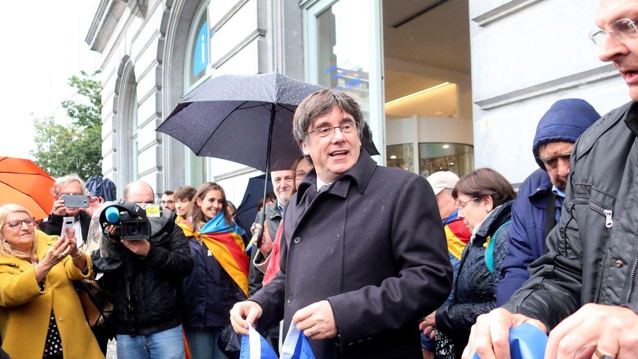Carles Puigdemont, este martes, durante una manifestación en Bruselas para conmemorar el 1-O