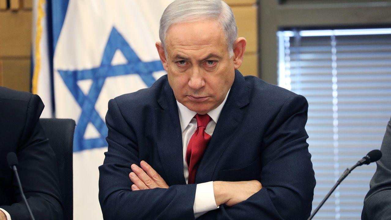 Netanyhu, durante la reunión celebrada este lunes en el Kneset (Parlamento israelí)