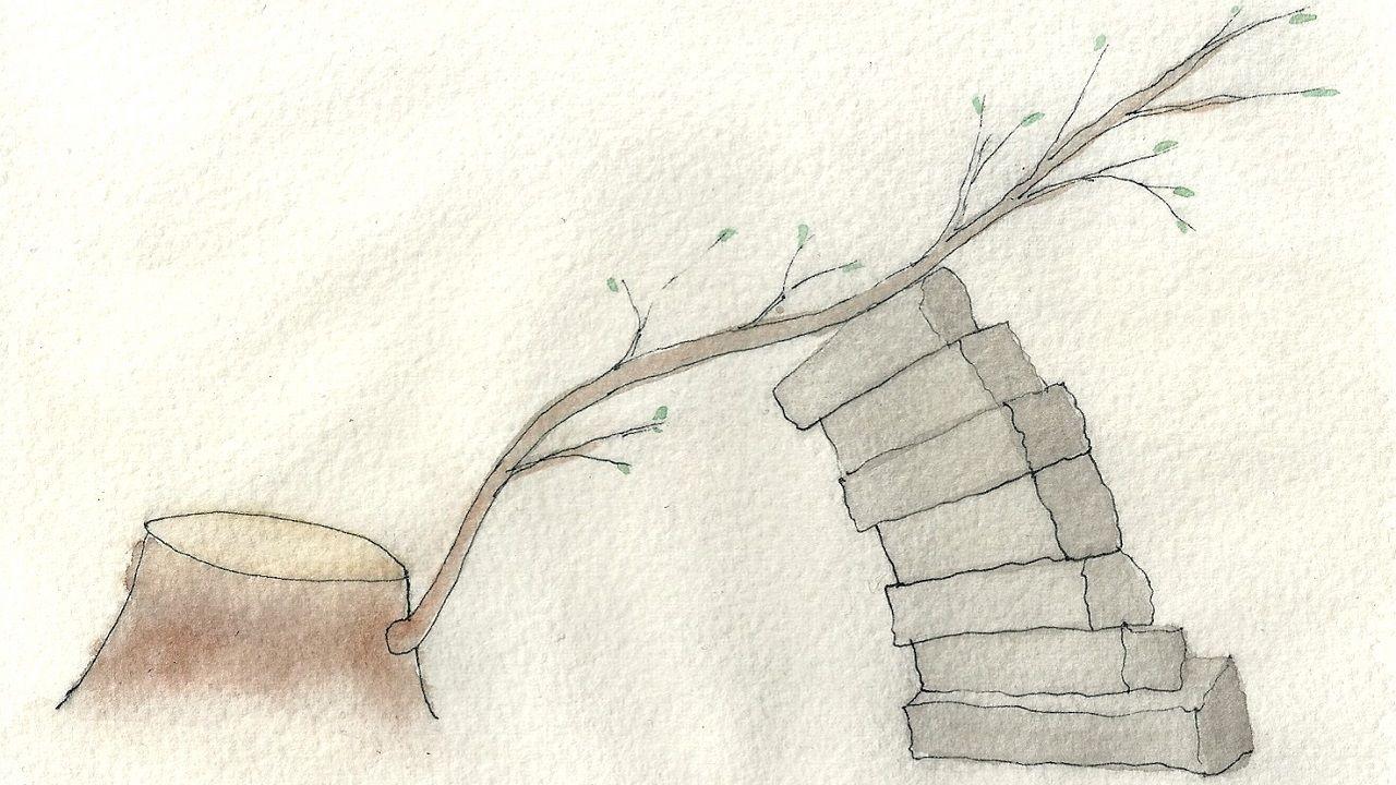 «Talar», dibujo homenaje del arquitecto Rodrigo de Miguel a «Naturalezas», la obra destrozada en el Campo San Francisco por el Ayuntamiento de Oviedo