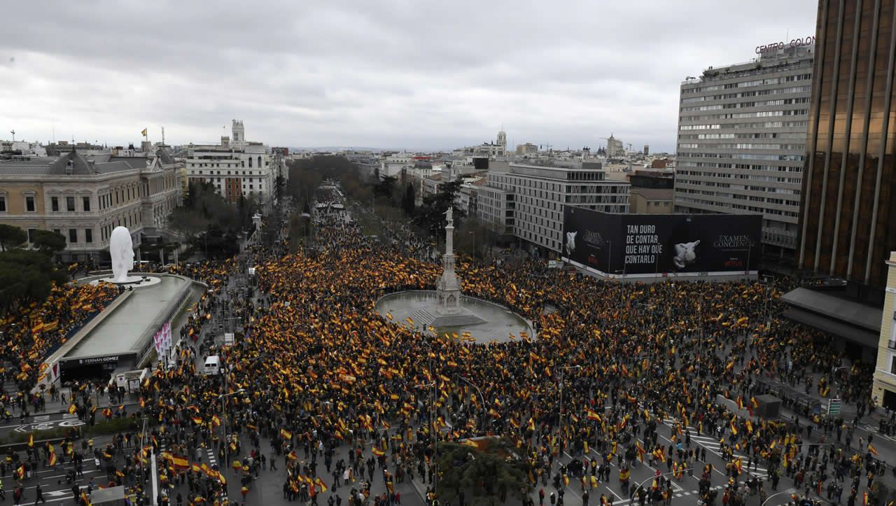 Vista de la calle Velázquez, durante la concentración para exigir la convocatoria de elecciones