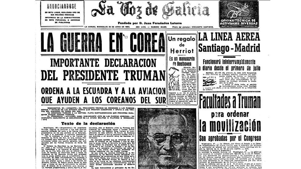 El pasado olímipico de Jason Statham.Primera plana de La Voz de Galicia del 28 de junio de 1950