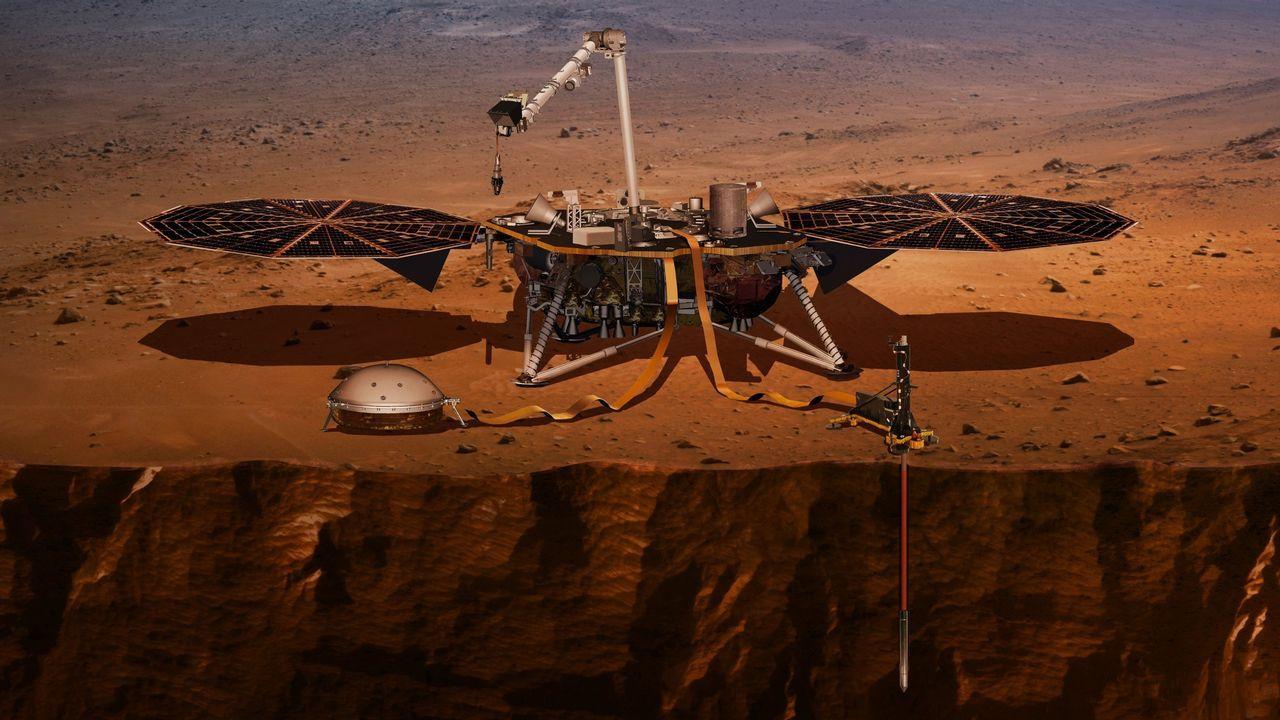 Simulación de la sonda InSight en Marte