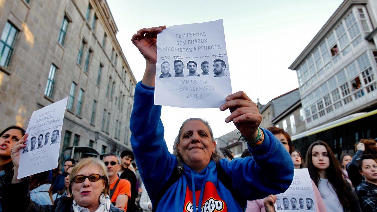 Protesta en las calles de Santiago de Compostela