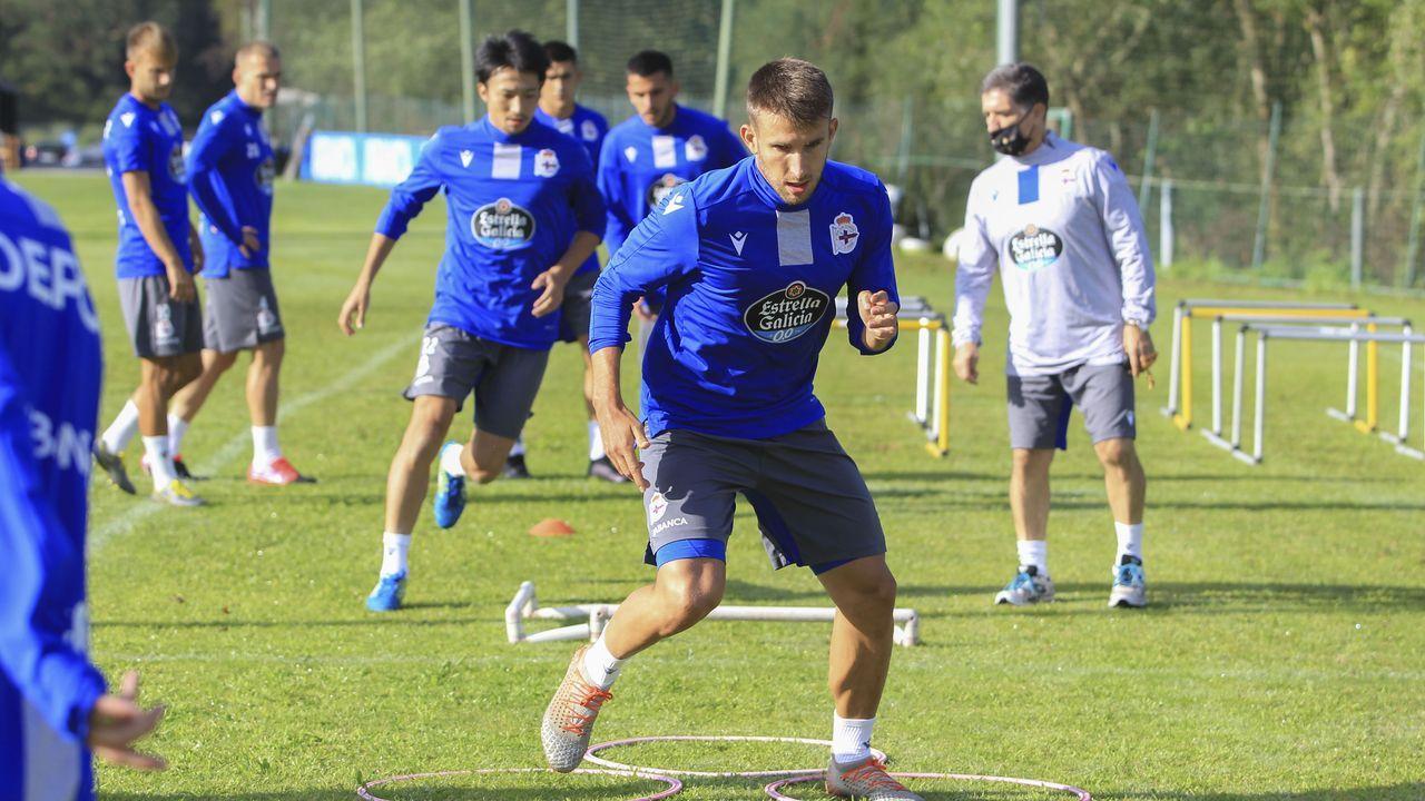 Borja Galán, en un entrenamiento de pretemporada