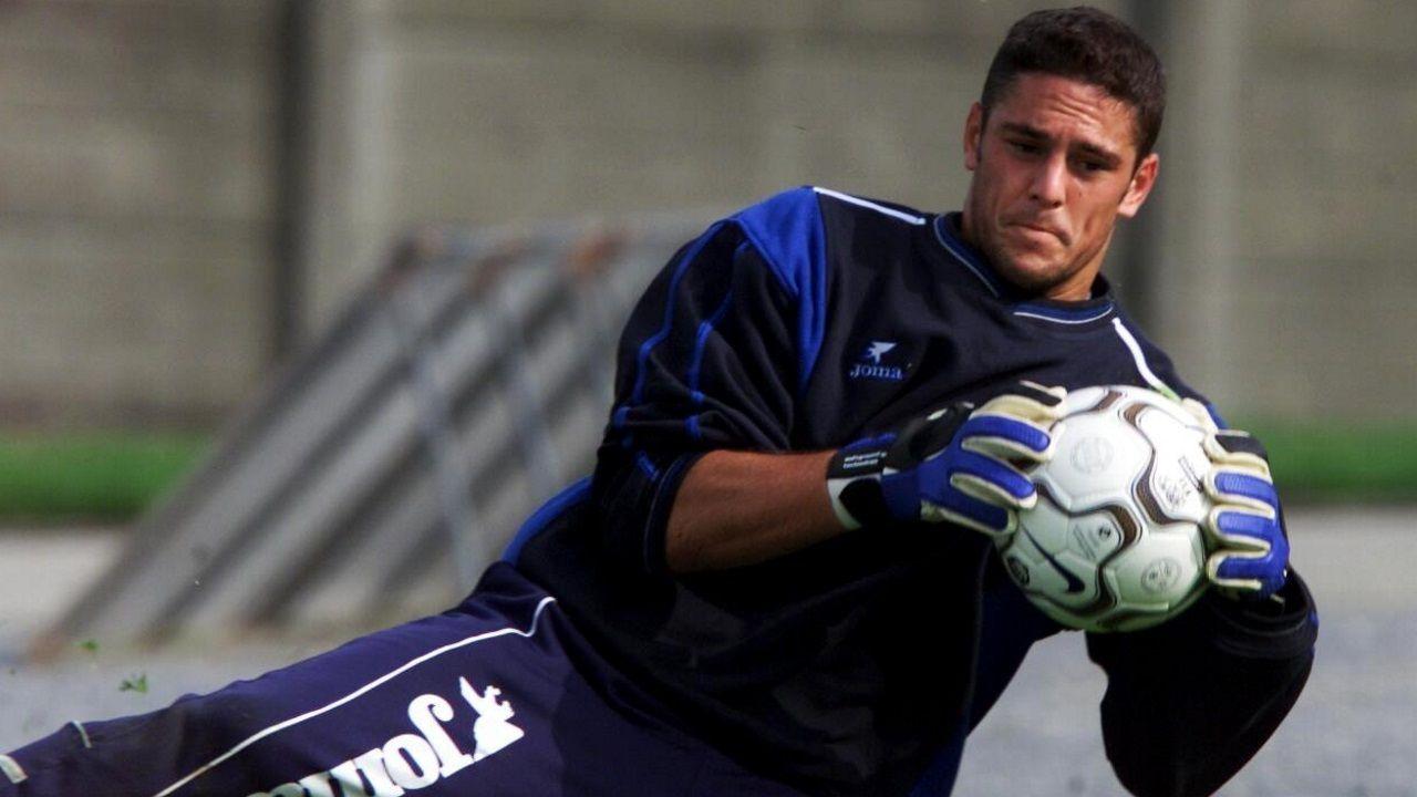 Dani Mallo nun entreno de pretemporada co Deportivo no ano 2001
