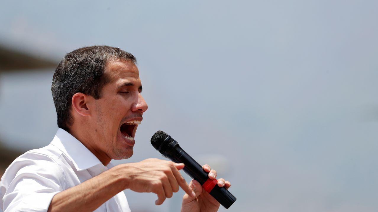 Guaidó, durante su intervención de este 1º de Mayo, en la que ha convocado a los venezolanos a salir a las calles a expresar su rechazo a la «usurpación» de Maduro