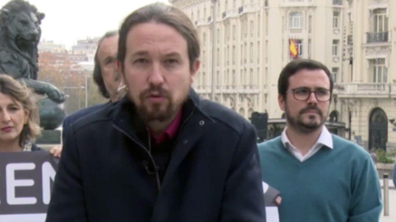 Sede de Izquierda Unida (IU) de Asturias.Pablo Iglesias y Alberto Garzón