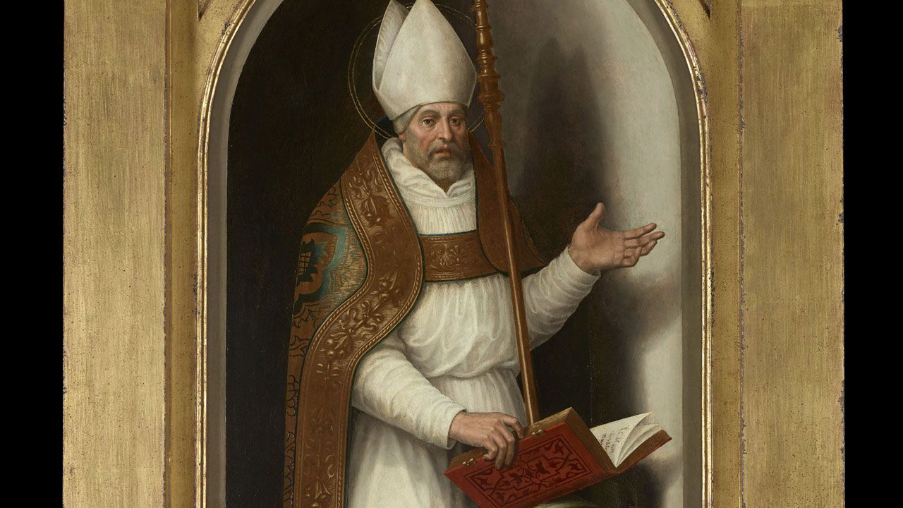 Fragmento del «San Agustín» de Juan de Juanes