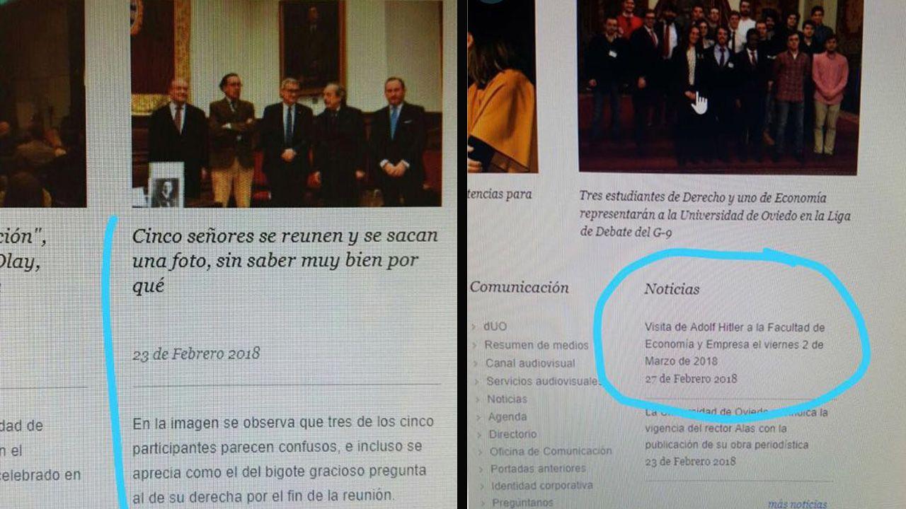 El rector de la Universidad de Oviedo, Santiago García Granda.Algunas de las imágenes de la web que se han difundido a través de las redes sociales