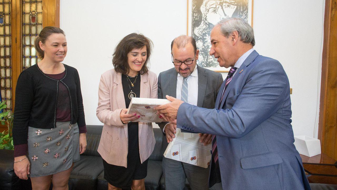 Un momento de la visita realizada por José Balseiros —segundo por la izquierda en la imagen— a un olivar perteneciente a la bodega Mondelo situado en la parroquia de Bendilló