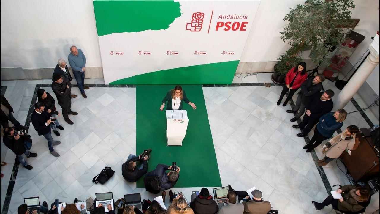 PP, Ciudadanos y Vox, juntos enuna manifestación este domingo en Madrid.Susana Díaz en la rueda de prensa en la que anunció que liderará la oposición socialista en Andalucía