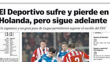 Página de La Voz tras el duelo del Deportivo en Eindhoven