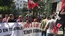 Protesta de los trabajadores de Zener ante la Junta General coincidiendo con la toma de posesión de Adrián Barbón