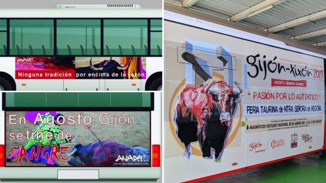 A la izquierda, arriba y abajo, la campaña que Anadel había realizado para los autobuses urbanos de Gijón. A la derecha, la campaña que anuncia la Feria de Begoña en los buses públicos.