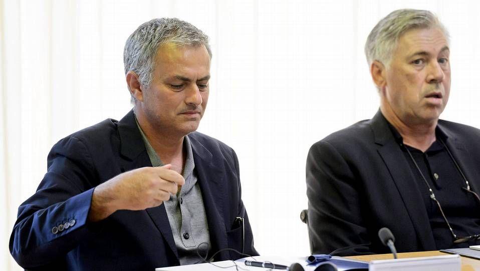 ¿Es un pederasta capaz de reinsertarse?.Mourinho y Carlo Ancelotti, en la reunión de entrenadores de elite que organiza la UEFA en su sede de Nyon (Suiza)