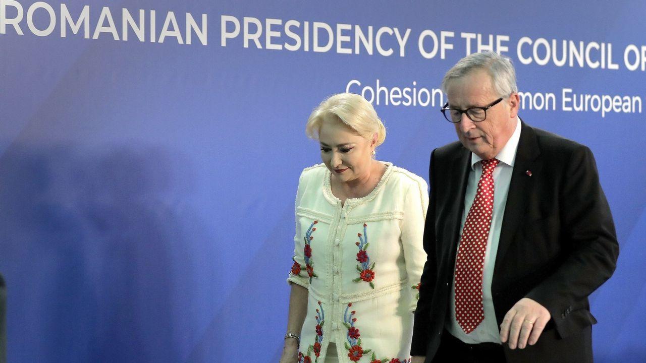 Juncker y la rumana Viorica Dancila, el viernes en Bucarest