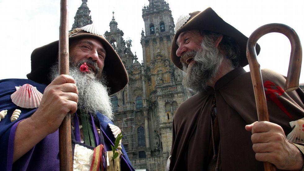 Marcelino y Zapatones, dos de los peregrinos más famosos de todo el Camino.