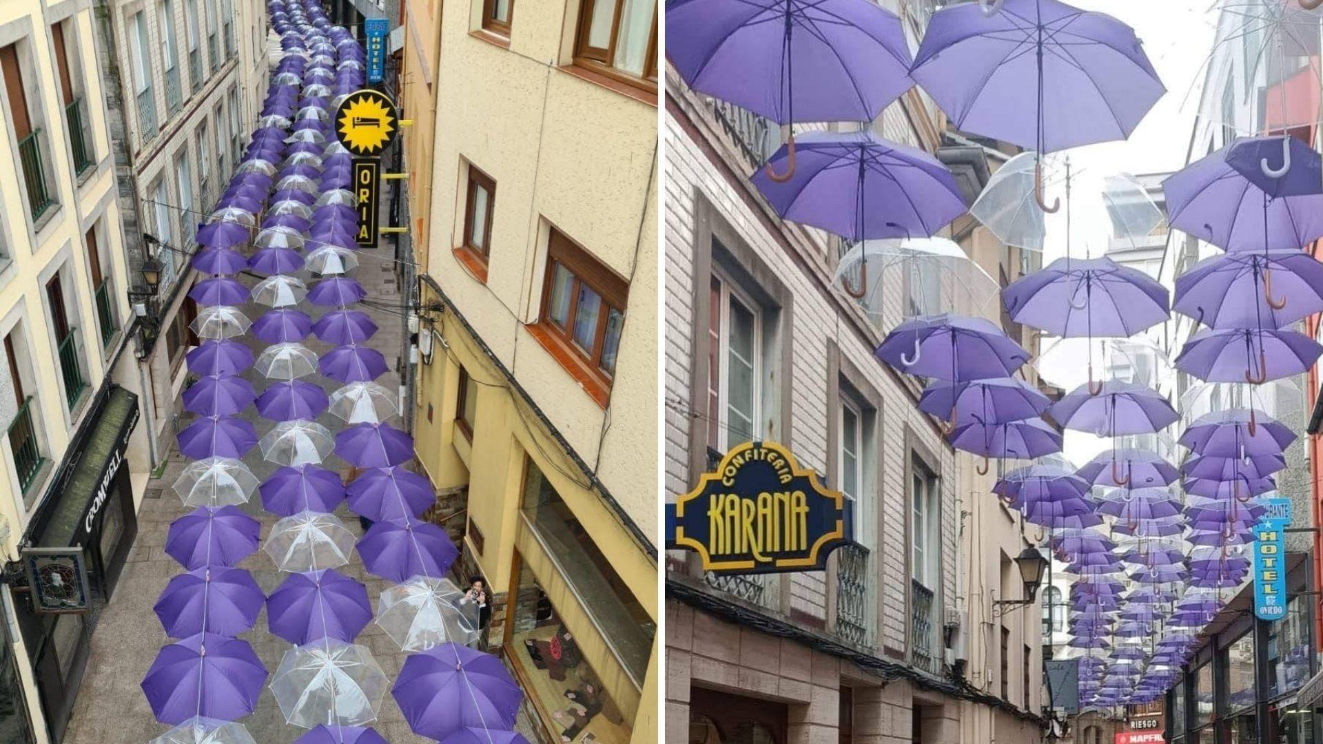 Dos vistas del techo de paraguas que, con motivo del 8M, se ha instalado en la calle Crucero de Luarca