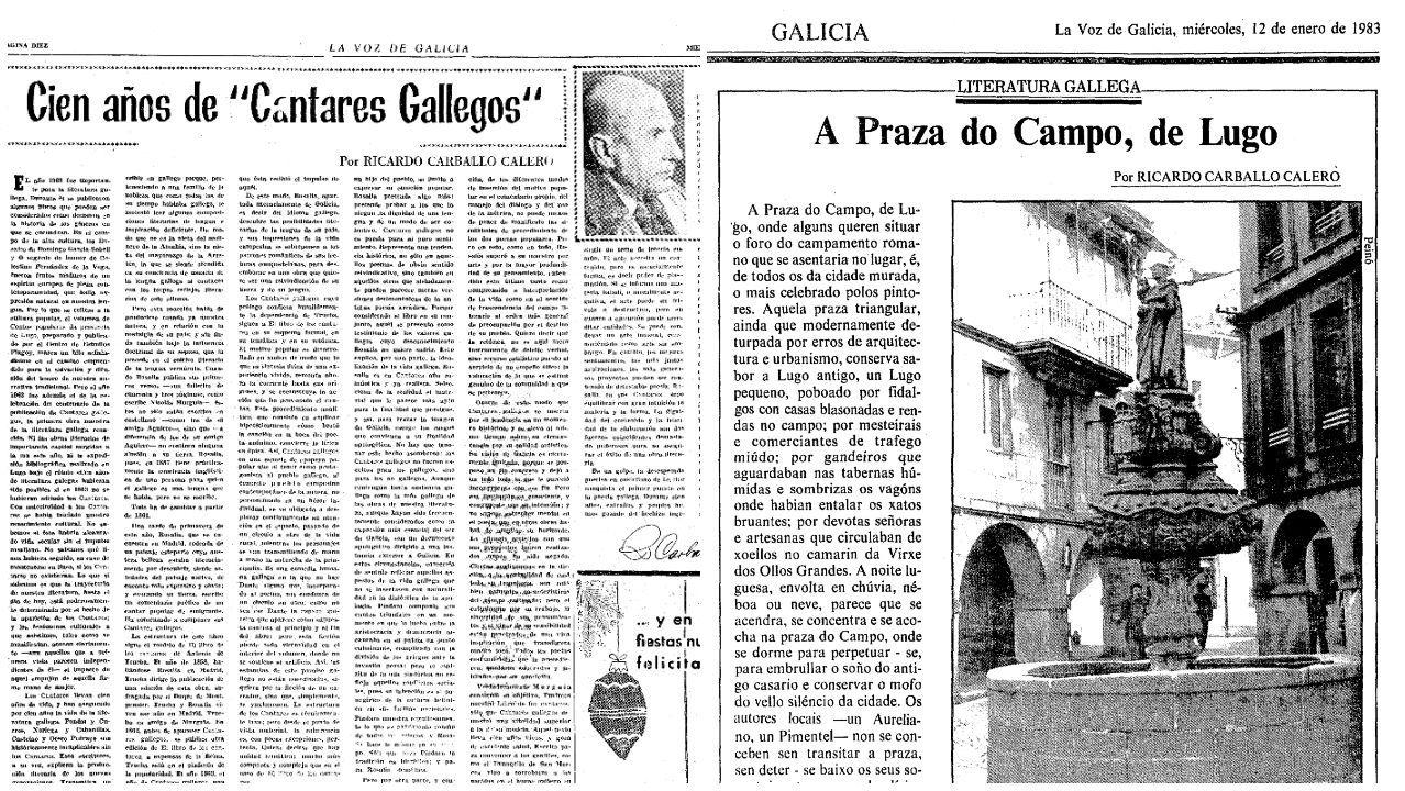 Dous dos mais de douscentos artigos que publicou Carvalho Calero en La Voz