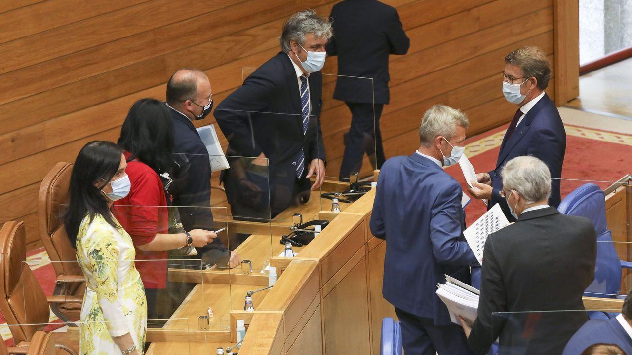 Chandebrito, tres años después de la devastadora ola de incendios.Gonzalo Caballero, Alberto Núñez Feijoo y Ana Pontón, en el Parlamento