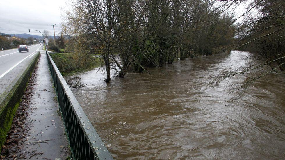 Crecida del río Cabe en Ribas Altas (Monforte) el pasado mes de diciembre