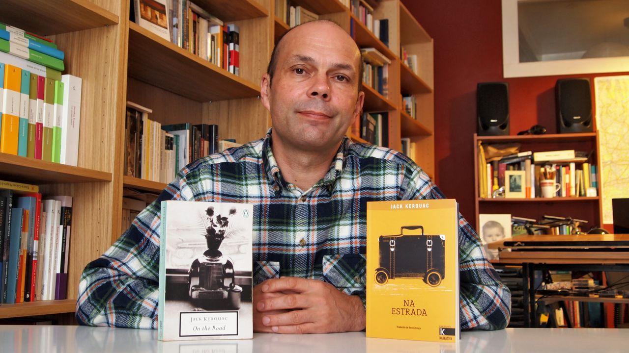 libros.Detalle da ilustración de Alberto Gamón para a portada da última novela do escritor Xesús Fraga, «Virtudes (y misterios)»