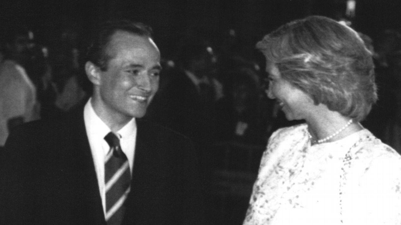 Charlando con Josep Carreras tras su recital en Barcelona en julio de 1988