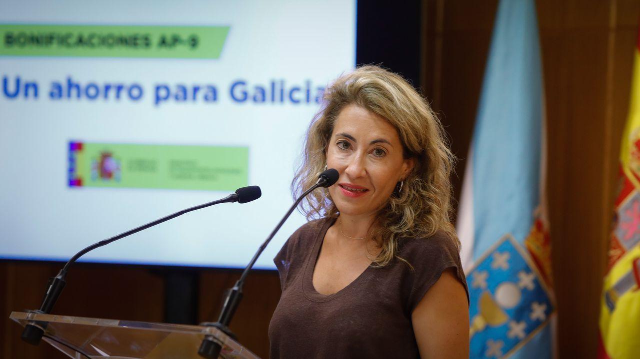 Raquel Sánchez, ministra de Transportes, esta mañana en A Coruña