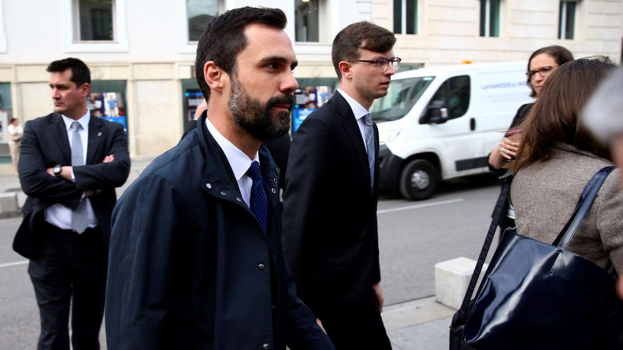 El presidente del parlamento catalán, Roger Torrent, a su llegada al Congreso