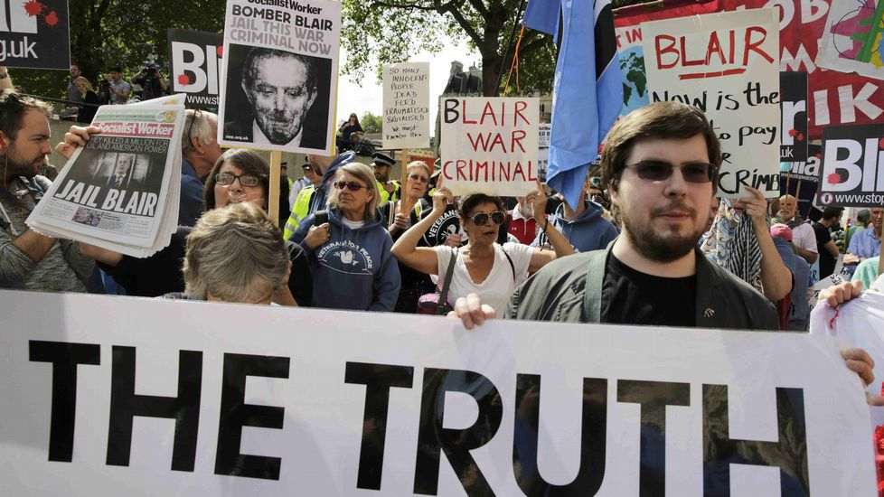 Manifestantes, esta mañana en Londres