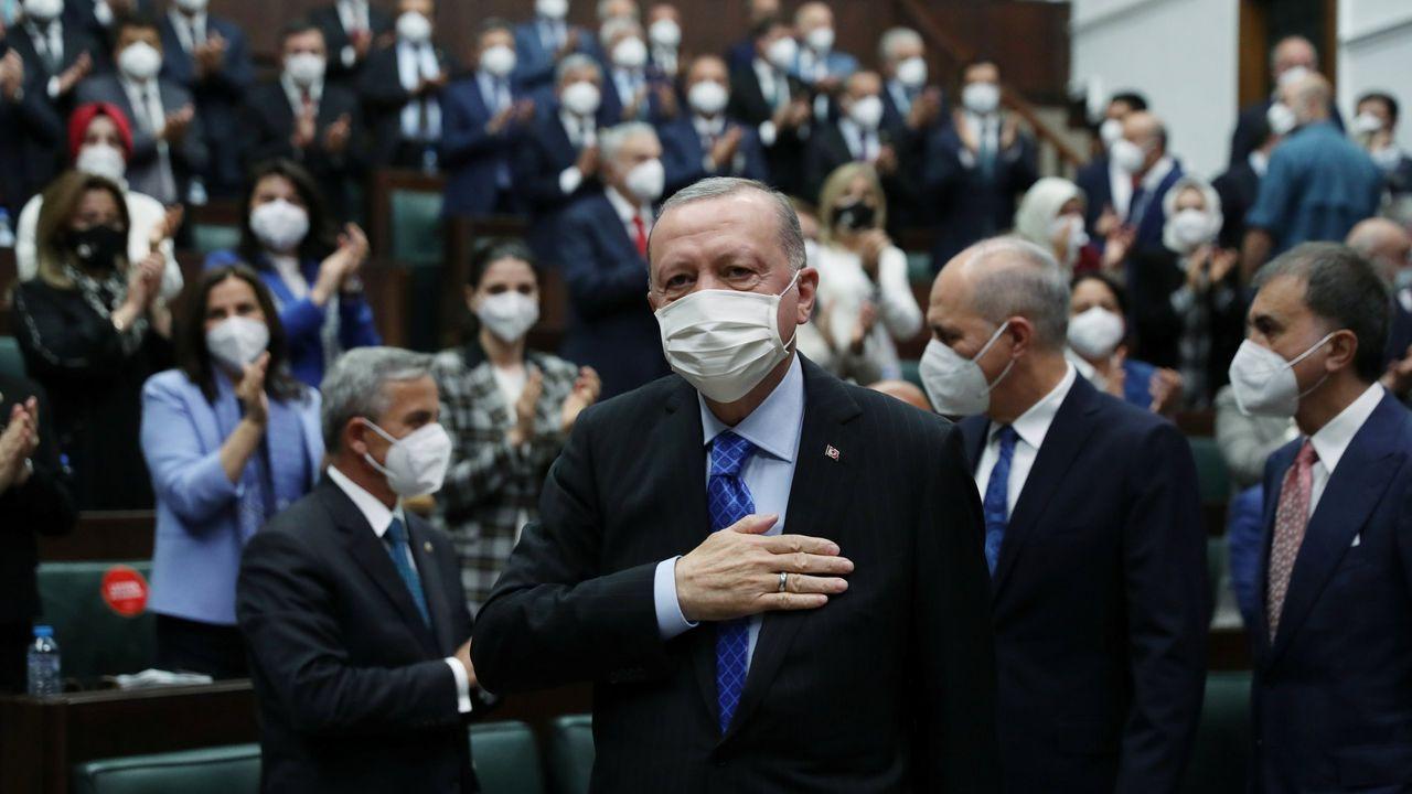 Erdogan, en una reunión con miembros del partido islamista AKP el pasado jueves