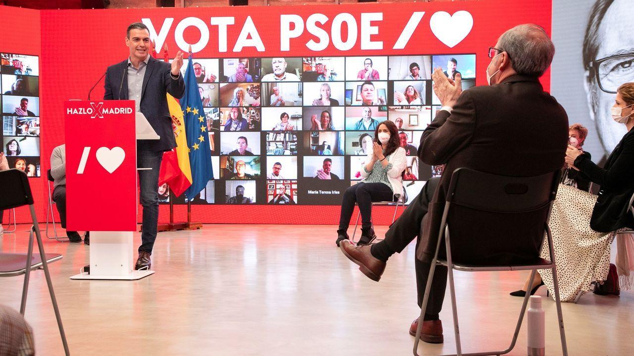 Sánchez y Gabilondo, hoy domingo, en un acto electoral semipresencial en la sede del PSOE