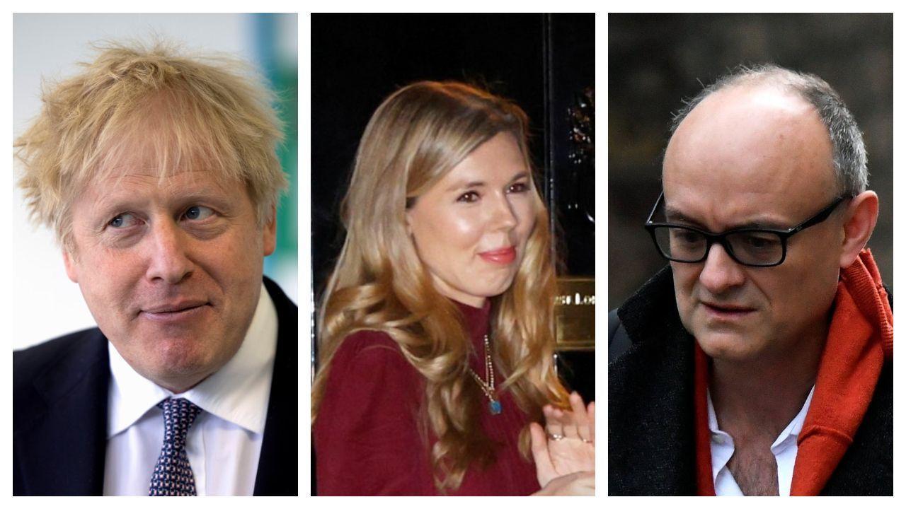 De izquierda a derecha, Boris Johnson, Carrie Symonds y Dominic Cummings en imágenes de archivo.