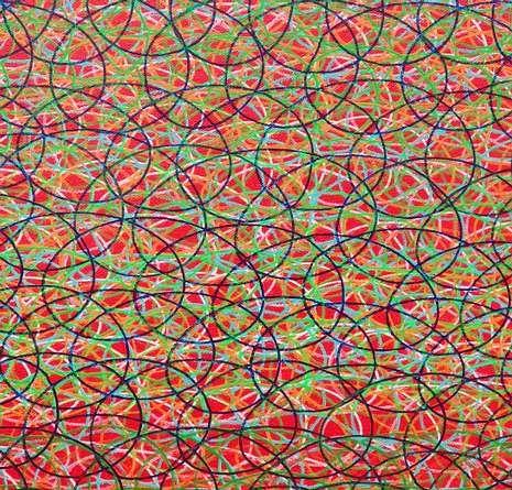 Los motivos circulares forman el entramado de colores que caracterizan el cuadro de Ana Pérez Ventura.