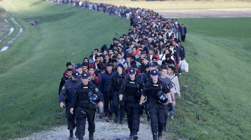 Refugiados sirios escoltados por la policía eslovena en Brezice
