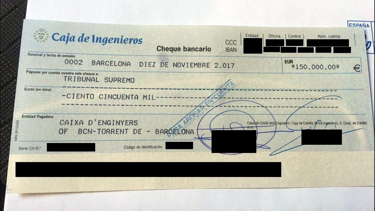 Fotografía facilitada por la ANC del cheque de 150.000 euros que ha ingresado la defensa de Forcadell