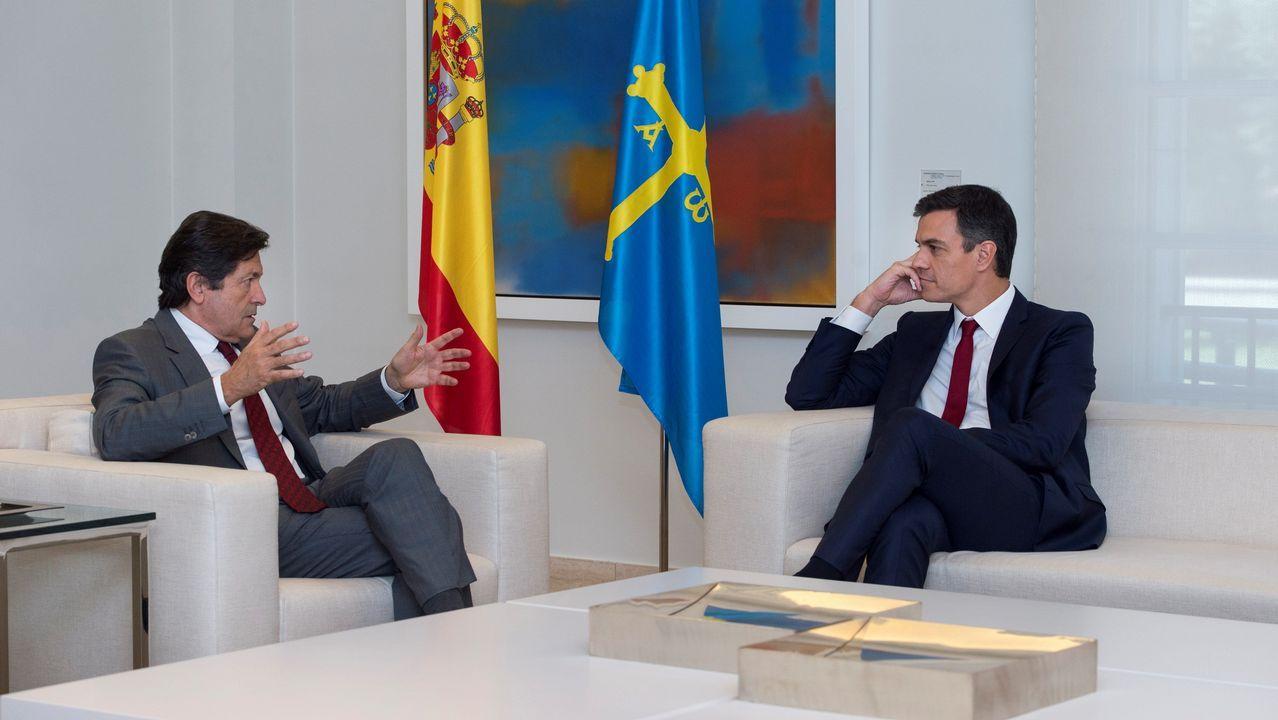 El presidente del gobierno Pedro Sánchez, durante su reunión con reúne con el Presidente del principado Asturias, Javier Fernández, esta mañana en el Palacio de La Moncloa