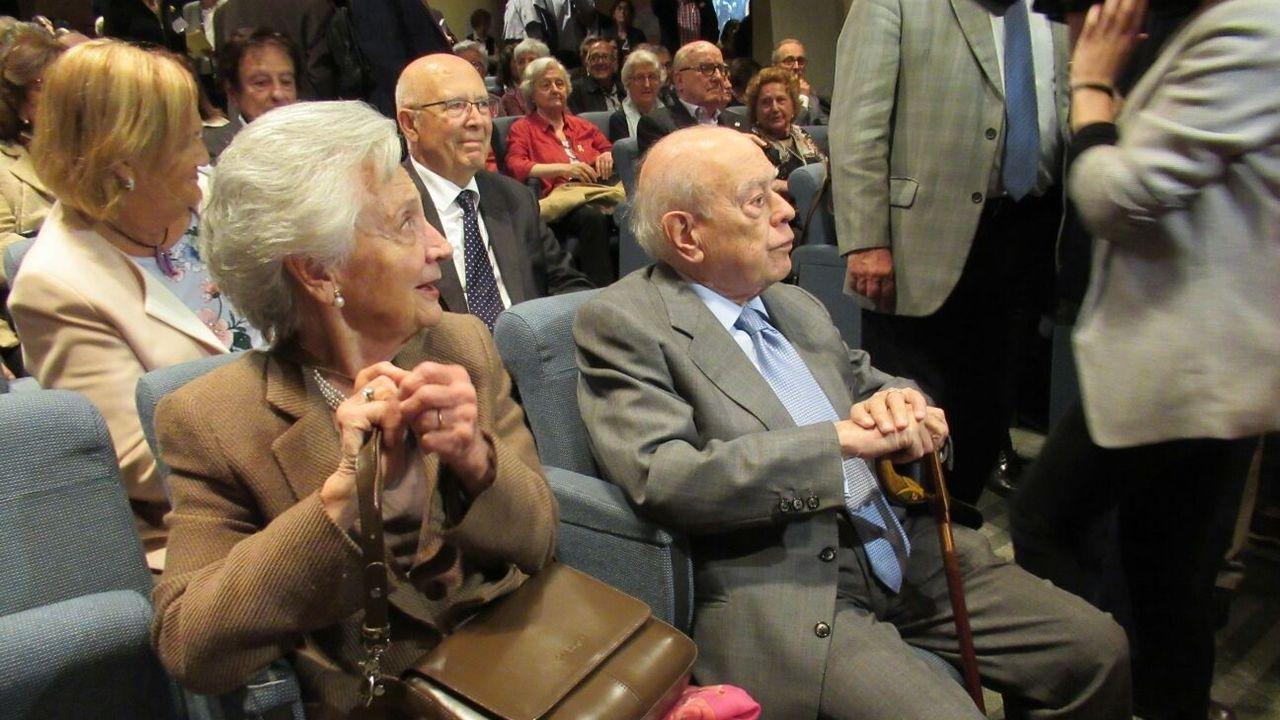 Marta Ferrusola y Jordi Pujol en un acto celebrado en Barcelona, en el 2018