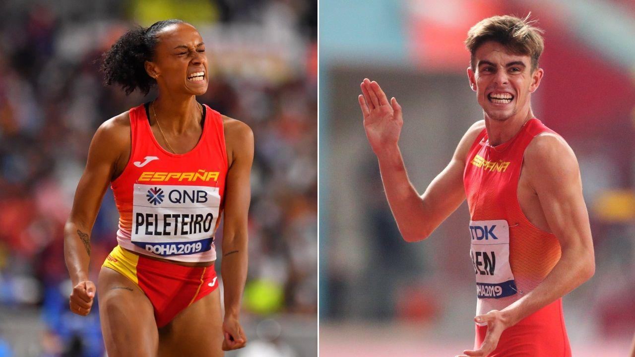 Adrián Ben y la alcaldesa, el pasado octubre, cuando Viveiro homenajeó al atleta