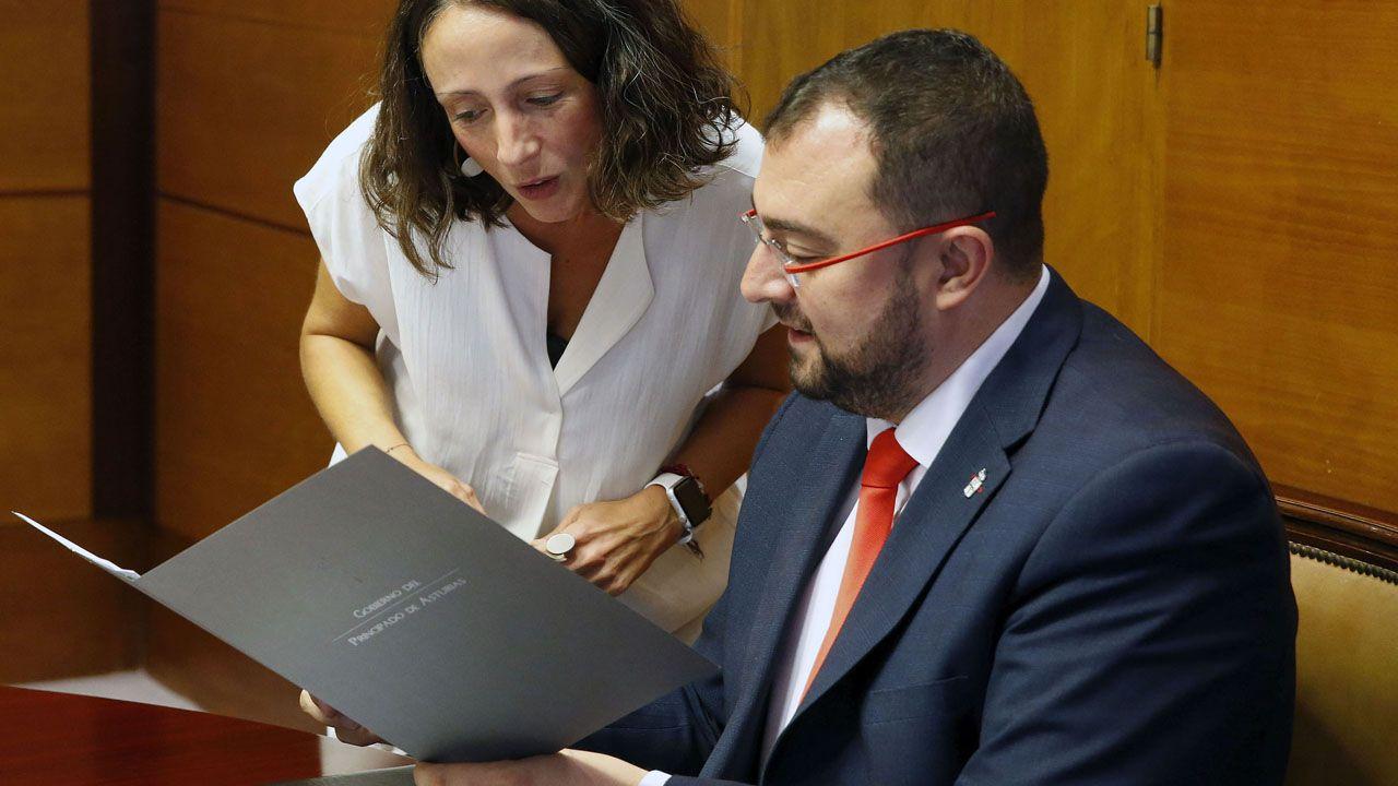 La portavoz del Gobierno del Principado, Melania Álvarez, despacha con Adrián Barbón